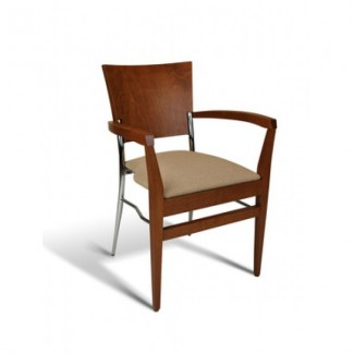Beech Wood Stacking Arm Chair 269 Series with Padded Seat