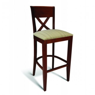 Beech Wood Bar Stool 123 Series with Cross Back