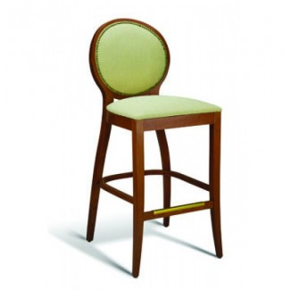 Beech Wood Bar Stool Clark Series with Nail Head Trim Back