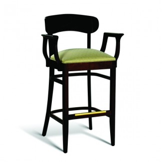 Beech Wood Bar Stool CC100 Series with Arms and Padded Seat