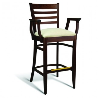 Beech Wood Bar Stool CC100 Series with Arms and Slat Back