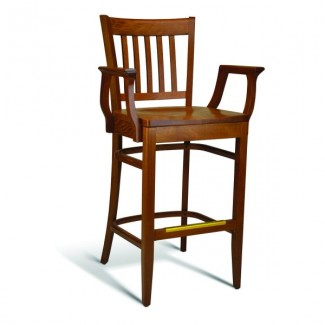 Beech Wood Bar Stool CC110 Series with Arms and Saddle Seat