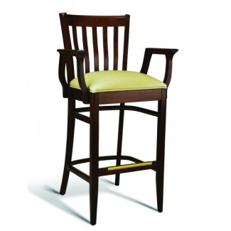 Beech Wood Bar Stool CC120 Series with Arms and Padded Seat
