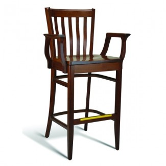 Beech Wood Bar Stool CC120 Series with Arms and Saddle Seat
