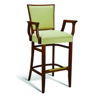 Beech Wood Bar Stool Quincy Series with Arms and Wrapped Sides