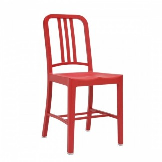 111 Navy Recycled Restaurant Chair in Red