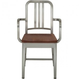 Navy Aluminum Arm Chair with Natural Wood Seat