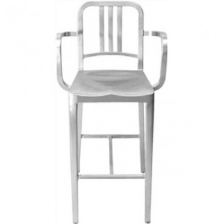 Eco Friendly Restaurant Breakroom Furniture Navy Aluminum Bar Stool with Arms