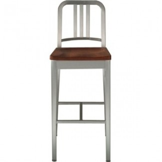 Navy Aluminum Bar Stool with Natural Wood Seat