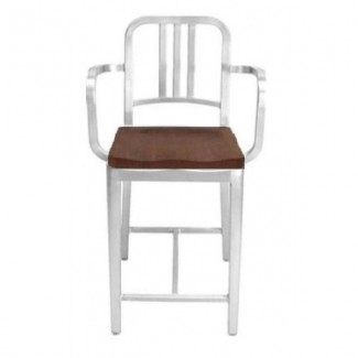Eco Friendly Restaurant Breakroom Furniture Navy Aluminum Counter Stool with Arms and Natural Wood Seat