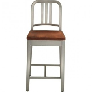 Eco Friendly Restaurant Breakroom Furniture Navy Aluminum Counter Stool with Natural Wood Seat