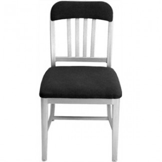 Navy Aluminum Semi-Upholstered Side Chair