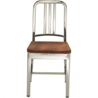 Navy Aluminum Side Chair with Natural Wood Seat