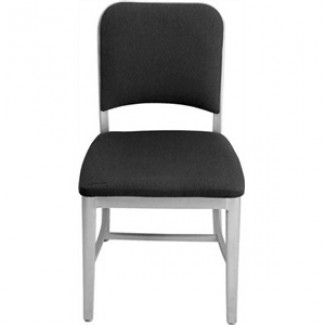 Navy Aluminum Upholstered Side Chair