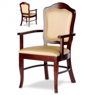 European Beech Solid Wood Restaurant Chairs Holsag Vincent Camel Back Arm Chair