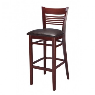 Beech Wood Bar Stool 2450P with Narrow Horizontal Slat Back