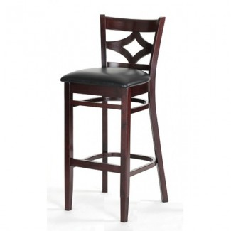 Beech Wood Bar Stool 2523P with Diamond Back and Upholstered Seat
