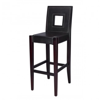 Modern Mid-back Beech Wood Bar Stool 2800P with Square Cutout Back