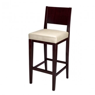 Modern Beech Wood Bar Stool 2830P with Wood Back and Upholstered Seat