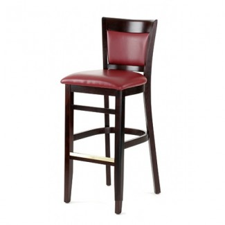 Contemporary Beech Wood Bar Stool 2865P with Upholstered Back