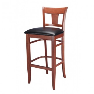 Beech Wood Bar Stool 2890P with Fab Back