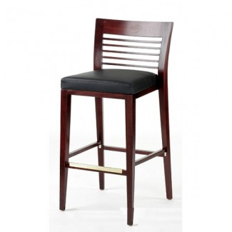 Modern Beech Wood Bar Stool 2930P with Mid-Back