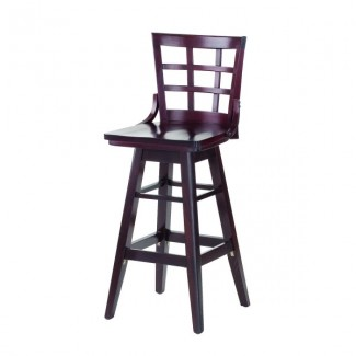 Beech Wood Bar Stool 2527SW with Window Pane Back and Swivel Seat