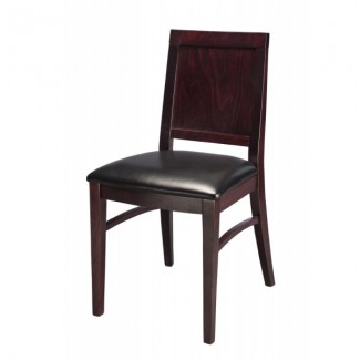 Contemporary Beech Wood Side Chair 460P with Wood Back and Upholstered Seat