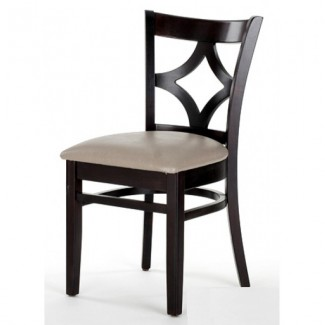 Beech Wood Side Chair 523P with Diamond Back and Upholstered Seat