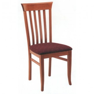 Beech Wood Side Chair 720P with Vertical Slat High Back and Upholstered Seat