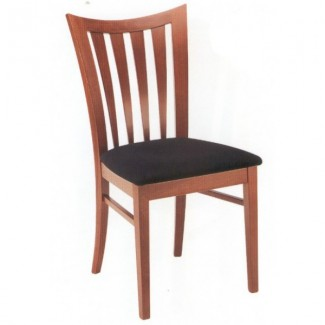 Beech Wood Side Chair 730P with Vertical Slat Back and Upholstered Seat