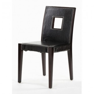 Modern Beech Wood Side Chair 800P with Square Cutout Mid-Back