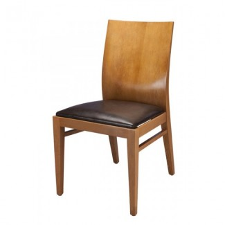 Modern Side Chair 820P with Solid Wood Back and Upholstered Seat