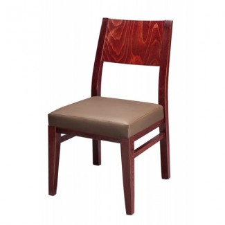 Modern Beech Wood Side Chair 830P with Wood Back and Upholstered Seat