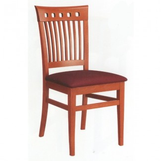 Beech Wood Side Chair 850P with Vertical Slat Back and Upholstered Seat 850P