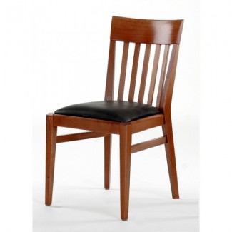 Beech Wood Side Chair 897P with Vertical Slat Back and Upholstered Seat