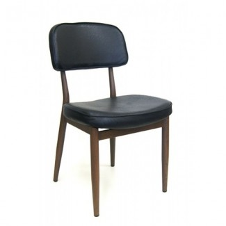 Wood-Grain Metal Draper Side Chair