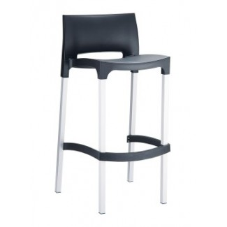 Gio Resin Stacking Bar Stool - Black