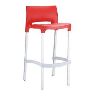 Gio Resin Stacking Bar Stool - Red