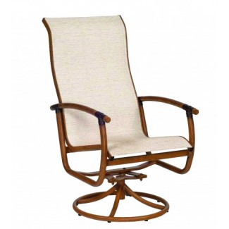 Glade Isle Sling High Back Swivel Rocker Dining Arm Chair