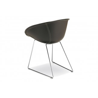 Gliss Leather Barrel Dining Chair