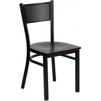 Grid Back Metal Dining Chair
