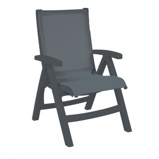 Grosfillex Belize Folding Sling Lounge Chair with Charcoal Frame