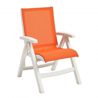 Belize Folding Sling Chair with White Frame