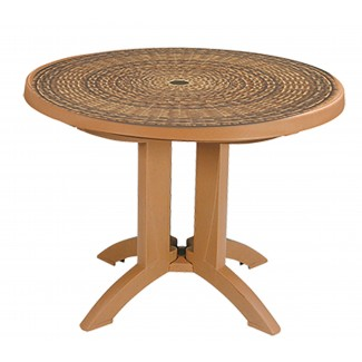 "Havana Grosfillex 38"" Round Folding Table"