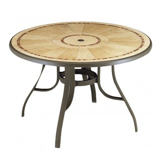 "Restaurant Outdoor Tables Louisiana 48"" Round Table with Metal Legs and Umbrella Hole"