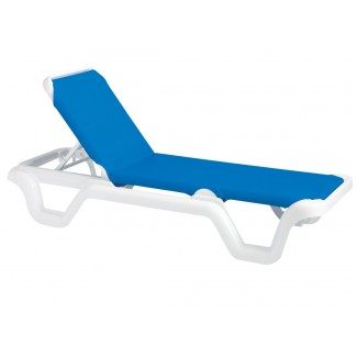 Restaurant Hospitality Poolside Furniture Marina Chaise Lounge Without Arms - White Frame