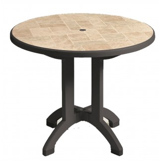 "Siena Grosfillex 38"" Round Folding Table"