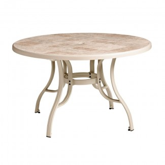 "Toscana Grosfillex 48"" Round Table with Metal Legs"