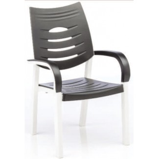 Happy Solid Polymer Resin Arm Chair - White/Anthracite